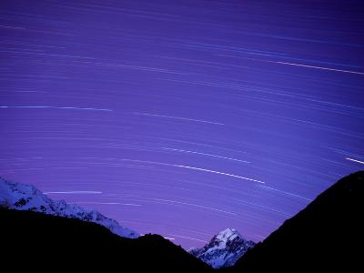 Long Exposure of Night Sky over Aoraki Mount Cook National Park, UNESCO World Heritage Site, South