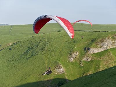 Paragliding Off Mam Tor, Derbyshire, Peak District, England, United Kingdom, Europe