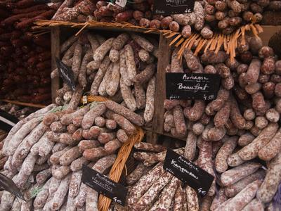 Sausages and Saucisson on Sale at Market in Tours, Indre-Et-Loire, Centre, France, Europe