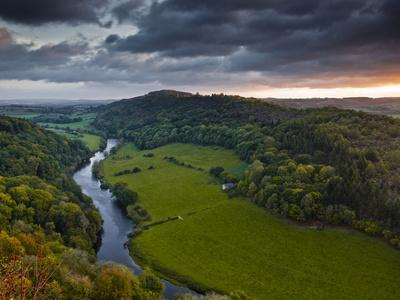 The Breaking Dawn Sky and the River Wye from Symonds Yat Rock, Herefordshire, England, United Kingd