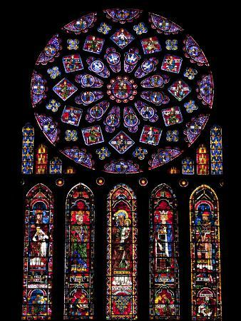 Rose Window, Stained Glass Windows in North Transept, Chartres Cathedral, UNESCO World Heritage Sit