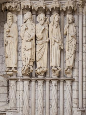 Medieval Carvings of Old Testament Figures, North Porch, Chartres Cathedral, UNESCO World Heritage