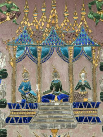 Mirror Mosaics, Reclining Buddha Shrine (Red Chapel), Wat Xieng Thong, UNESCO World Heritage Site,