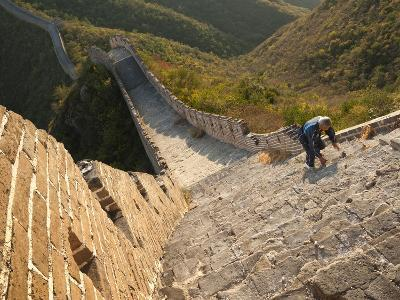 Chinese Man Climbs Great Wall of China, UNESCO World Heritage Site, Huanghuacheng (Yellow Flower) a