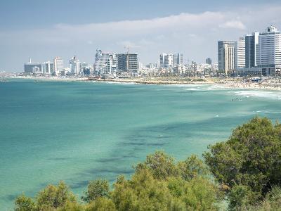 Beach, Skyline and Mediterranean Sea Viewed from Old Jaffa, Tel Aviv, Israel, Middle East