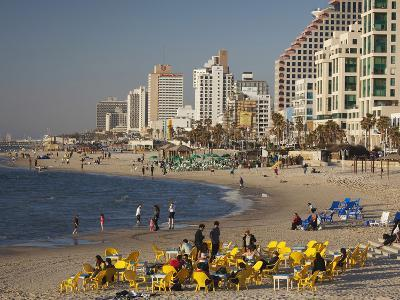 Beachfront Hotels in Late Afternoon, Tel Aviv, Israel