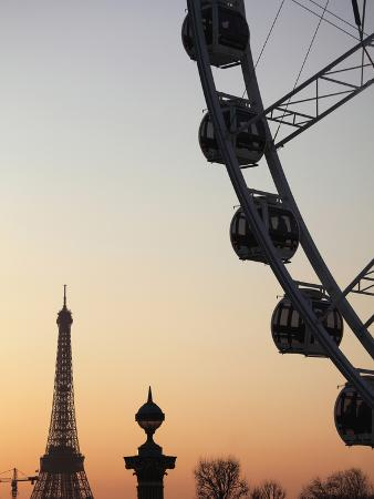 Ferry Wheel in Place De La Concorde with Eiffel Tower in the Background Near Sunset, Paris, France