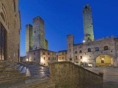 Piazza Duomo at Twilight, San Gimignano, Tuscany, Italy