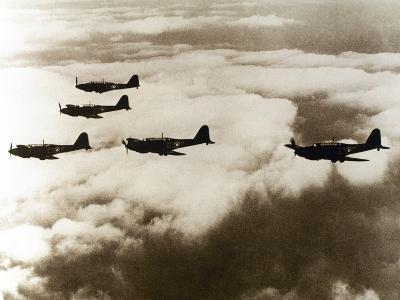 World War Ii (1939-1945), a Squad of British Aircraft Model Spitfire Flying, (October 1939)