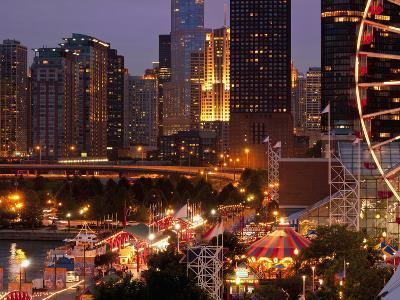 Chicago Navy Pier and Skyline at Night, Chicago, Illinois, Usa