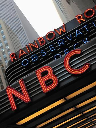 Sign of NBC News at the Rockefeller Center, New York City, New York, Usa