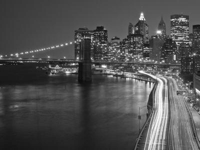 Brooklyn Bridge and Parkway, East River with Lower Manhattan Skyline, Brooklyn, New York, Usa