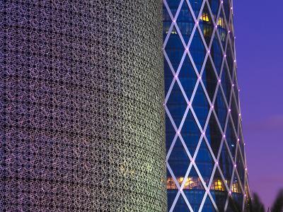Qatar, Doha, Burj Qatar Left, Tornado Tower Right
