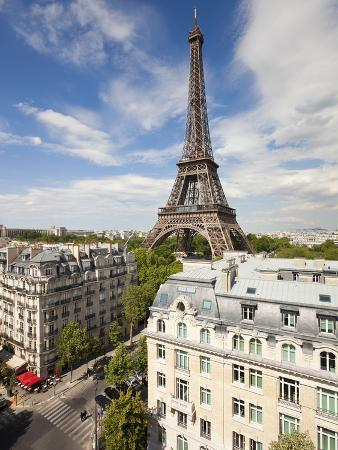France, Paris, Eiffel Tower, View over Rooftops