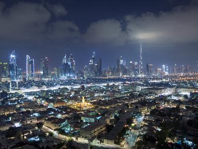 United Arab Emirates, Dubai, Skyline of Modern Skyscrapers Including the Burj Khalifa on Sheikh Zay
