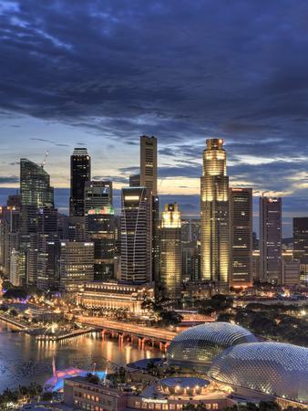 Singapore, Aerial View of Singapore Skyline and Esplanade Theathre