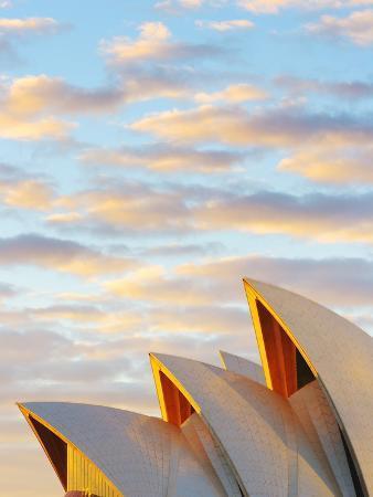 Australia, New South Wales, Sydney, Sydney Opera House, Close-Up at Sunrise