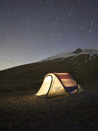 Italy, Umbria, Perugia District, Monti Sibillini Np, Norcia, Tent under the Star, Startrail with Po