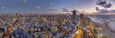 Israel, Tel Aviv, Elevated Dusk View of Beachfront Hotel