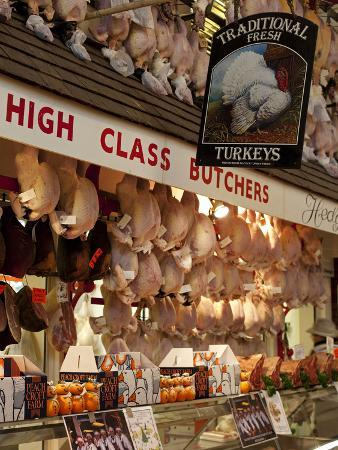 UK, Oxford, A Well-Stocked, 'High Class' Butcher Selling Christmas Turkeys in Oxford's Covered Mark