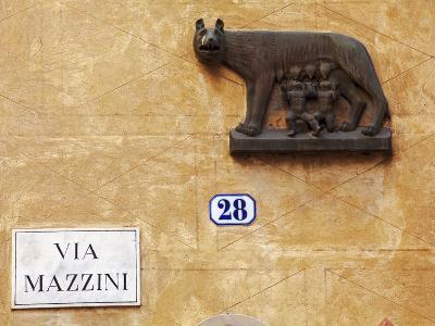 Italy, Veneto, Verona, Western Europe, the Symbol of Rome, on a Wall Named after Statesman Giuseppe