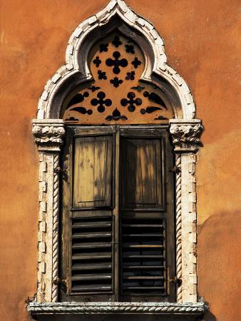 Italy, Veneto, Verona, Western Europe, a Tpical Pointed Window from the Veneto Region