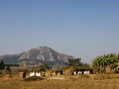 Malawi, Dedza, Grass-Roofed Houses in a Rural Village in the Dedza Region