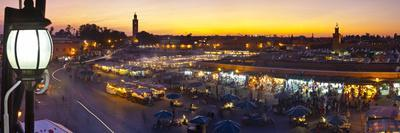Elevated View over Djemaa El-Fna Square at Sunset, Marrakesh, Morocco