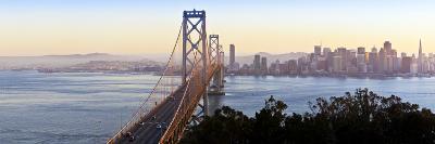 USA, California, San Francisco, City Skyline and Bay Bridge from Treasure Island