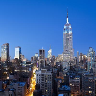 USA, New York, New York City, Manhattan, Midtown Manhattan, Elevated Dusk View Towards the Empire S