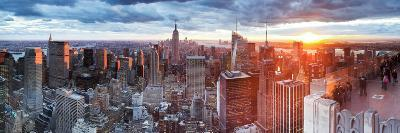 Manhattan View Towards Empire State Building at Sunset from Top of the Rock, at Rockefeller Plaza,