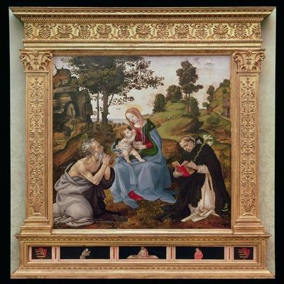 Virgin and Child with St. Jerome and St. Dominic (Oil and Tempera on Panel)