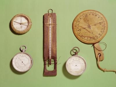 Scott's Compass, Thermometer, Sundial, Barometer and Altitude Scale Used on Antarctic Expedition