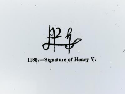 Signature of Henry V (1387-1422) (Engraving) (B&W Photo)