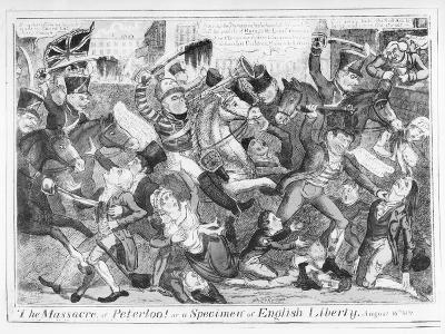 The Massacre of Peterloo! or a Specimen of English Liberty, August 16th 1819 (Etching) (B&W Photo)