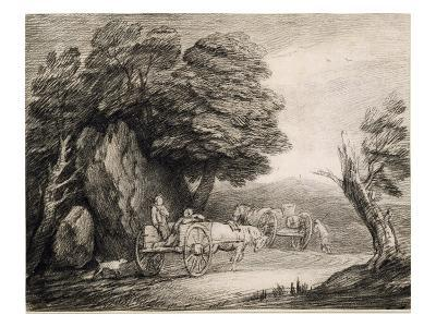 Wooded Landscape with Carts and Figures (Etching on Paper)