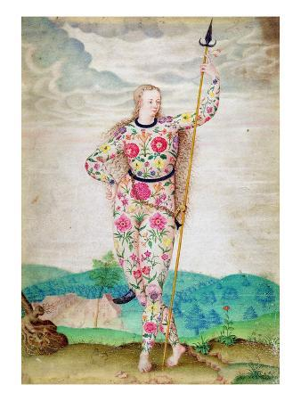 A Young Daughter of the Picts, C.1585 (W/C and Gouache with Gold on Vellum)