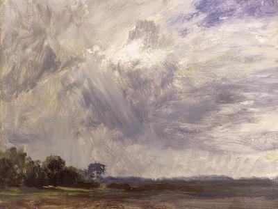 Landscape with Grey Windy Sky, C.1821-30 (Oil on Paper Laid Down on Millboard)