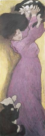 Woman with Cats (Pastel)