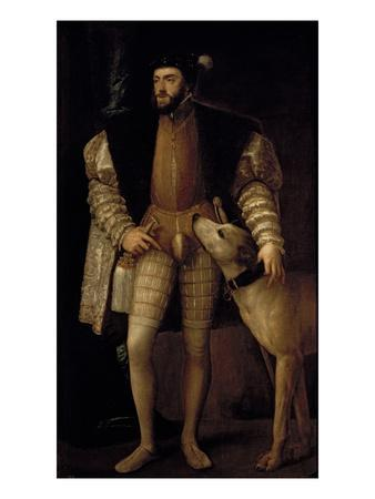 Charles V (1500-58) Holy Roman Emperor and King of Spain with His Dog, 1533