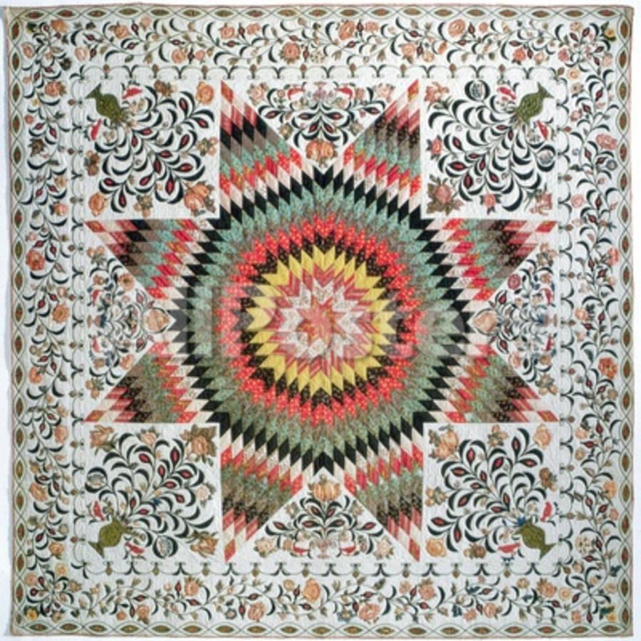 Rising sun or star of bethlehem applique quilt from new york c