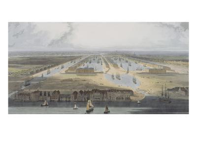West India Trade Docks, from 'six Views of the London Docks', 1802 (Coloured Aquatint)