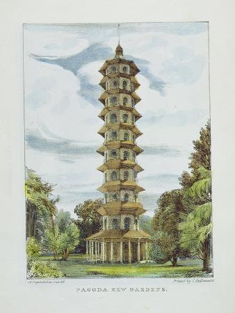 Pagoda, Kew Gardens, Plate 9 from 'Kew Gardens: a Series of Twenty-Four Drawings on Stone'
