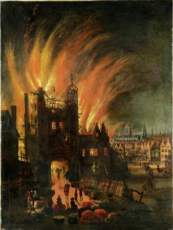 The Great Fire of London (September 1666) with Ludgate and Old St Paul's, c.1670