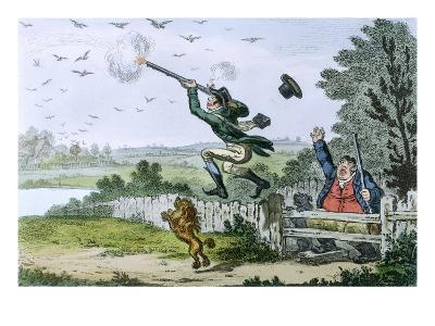 Cockney Sportsmen: Shooting Flying, Engraved by James Gillray (1757-1815) 1800
