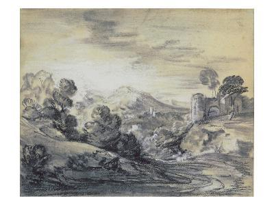 Wooded Landscape with Castle, C.1785-88 (Black and White Chalk on Laid Paper)