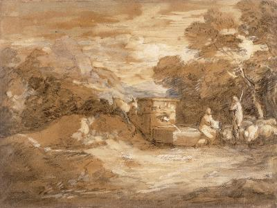 Mountain Landscape with Figures, Sheep and Fountain, C.1785-88