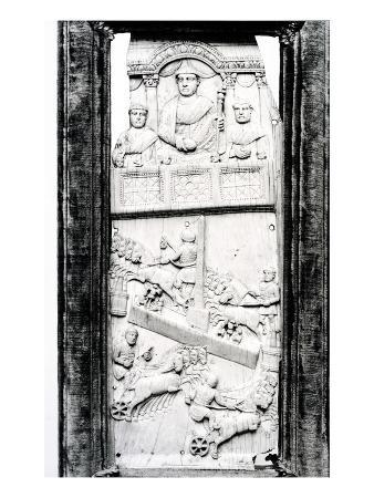 Leaf from the Lampadii Diptych, C.355 Ad (Ivory) (B/W Photo)