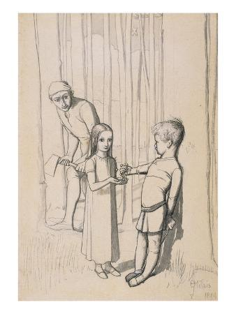 Study for 'The Woodman's Daughter', 1849 (Pen and Ink and Wash over Graphite on Wove)