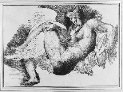 Leda, after a Drawing by Michelangelo Buonarroti (1475-1564) 1822 (Pen and Ink on Paper)